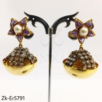 Amethyst jhumki earrings