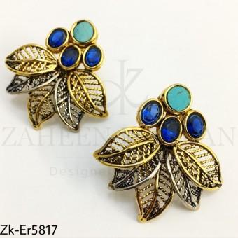 Aqua leaf earrings