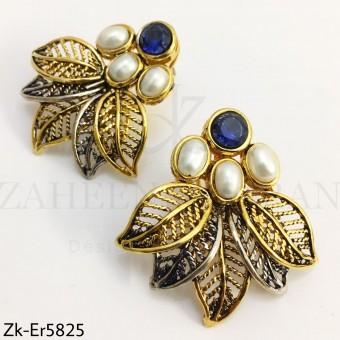 Sapphire leaf earrings