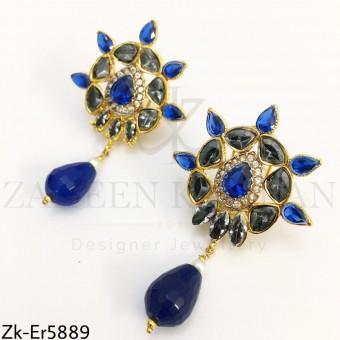 Sapphire smoked earrings