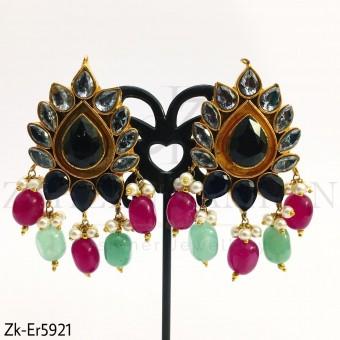Smoked kundan earrings