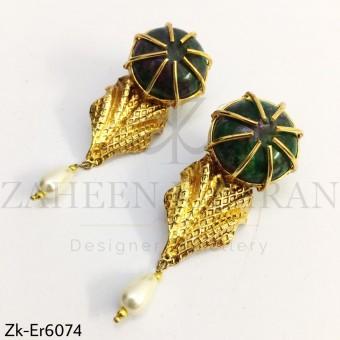 Marbled leaf earrings
