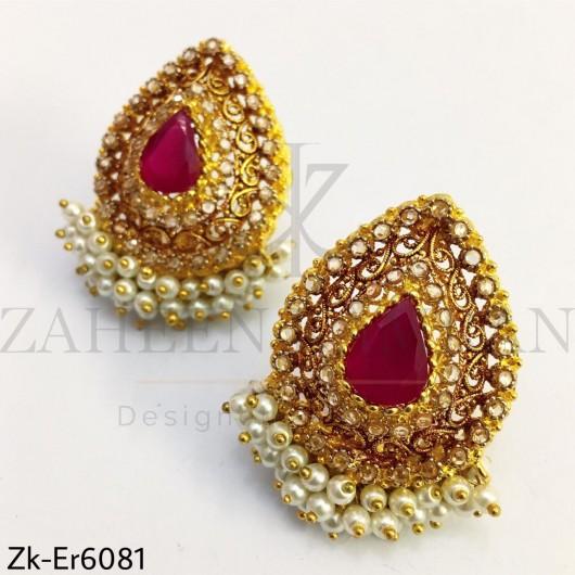 Ruby tear drop earrings
