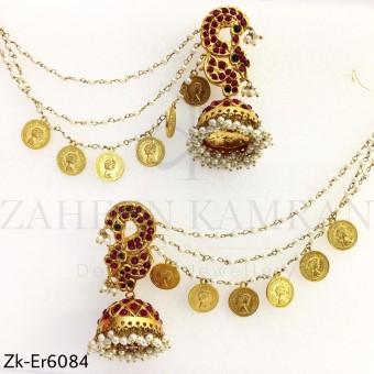 Kundan coin sahara earrings