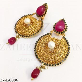 Agate round earrings