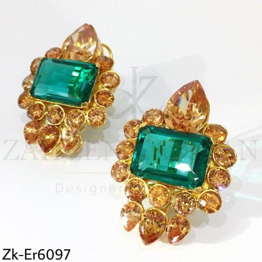 Champagne green earrings