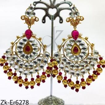 Kundan chunky earrings