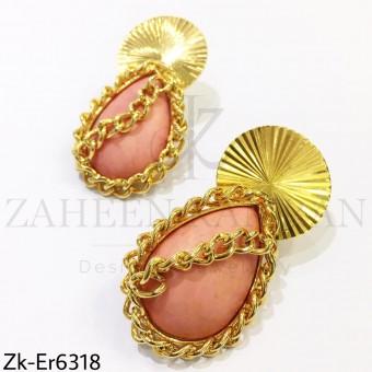 Chained peach earrings