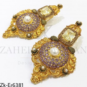 Amethyst golden earrings