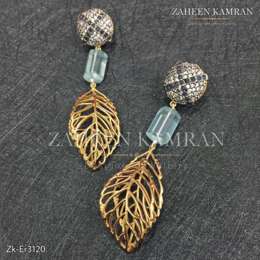 Leaf Zirconia Earrings
