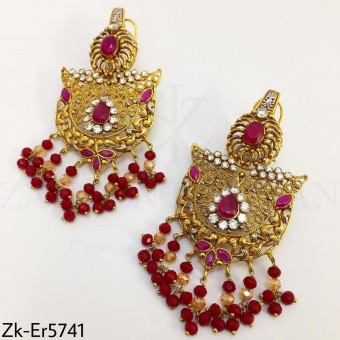 Traditional ruby gold earrings