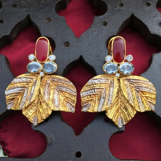 Ruby Leaf Earrings!