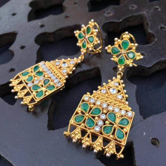 Emerald filigree Danglers!