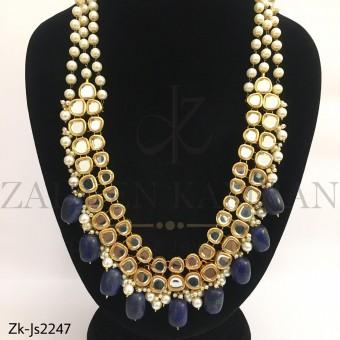 Kundan Sapphire Mala Set