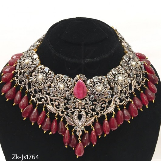 Ruby Filigree Unique Necklace Set