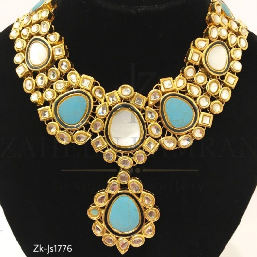 Gold Plated Turquise White Stone Necklace Set