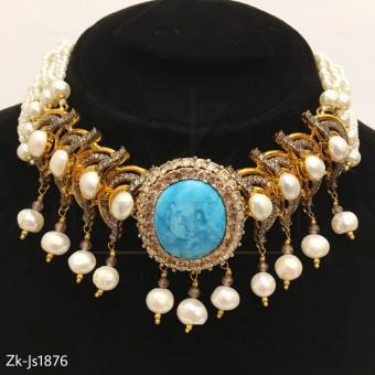 3D Blue Sapphire Necklace Set