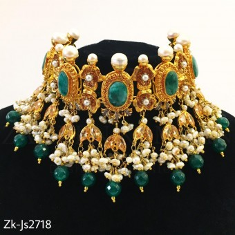 Emerald marbled choker set