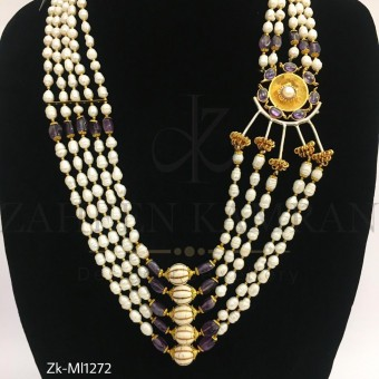 Amethyst pearls mala