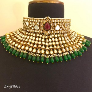 Gold Plated Stunning Ruby and Emerald Necklace Set