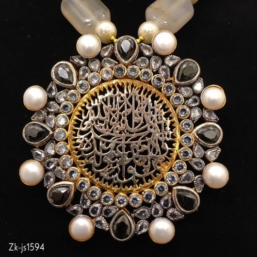 Beautiful Calligraphy Mala Set Studded with Pearls & Zircons