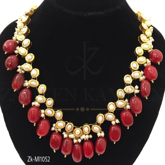 Pearl Ruby Necklace Set