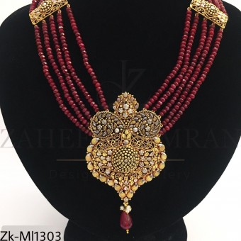 Antique gold ruby mala