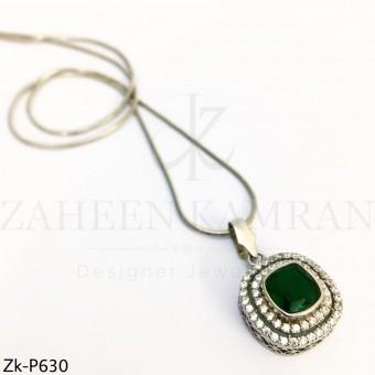Emerald Zirconian pendant