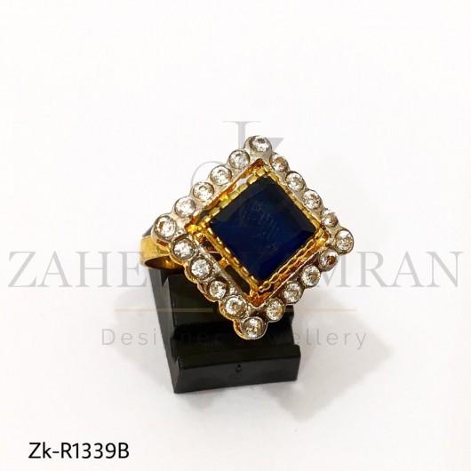 Princess Cut Dark Blue Crystal Ring