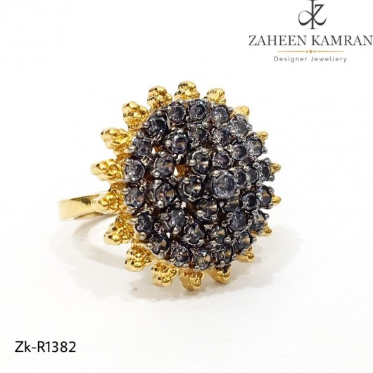 Sunflower Black Sapphire Ring