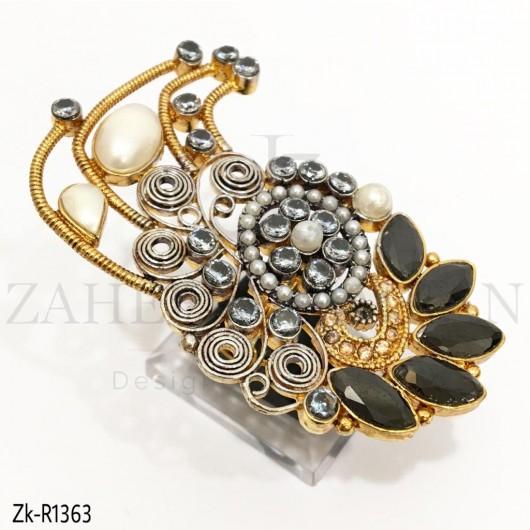 Designed Black Marquise Ring