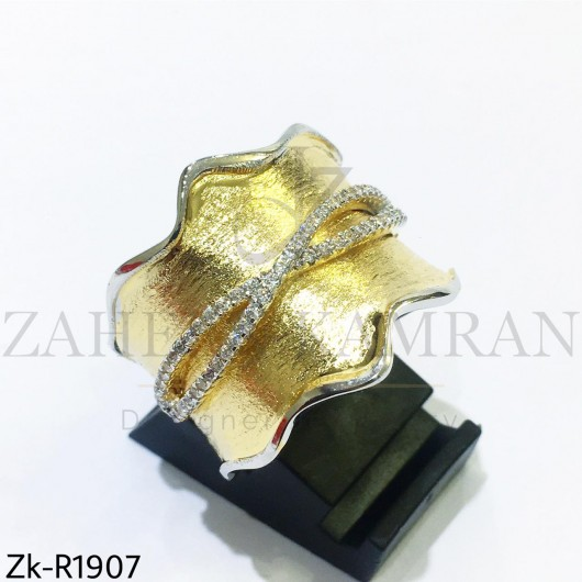 Textured golden ring