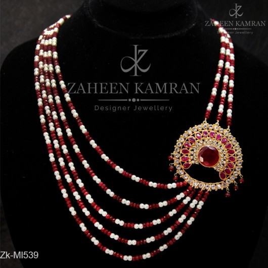 Graceful Ruby Pendant Mala