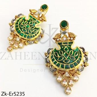 Electric green kundan earrings