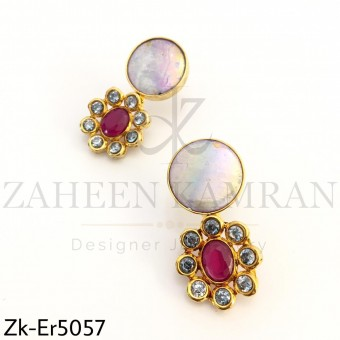 Opal floral earrings