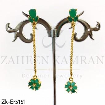 Emerald chain earrings