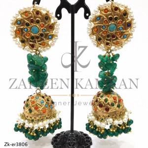 Handmade Green Beaded Earrings