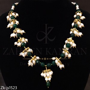 White And Green Pearl Necklace