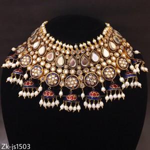 Blue Mina Jhumki Style Necklace